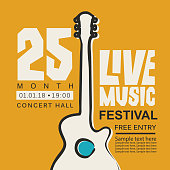 Vector banner or poster for live music festival with guitar, inscription and place for text in retro style on the yellow background