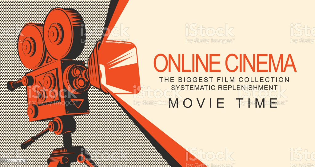 banner per il cinema online con vecchio proiettore cinematografico - arte vettoriale royalty-free di Applicazione mobile
