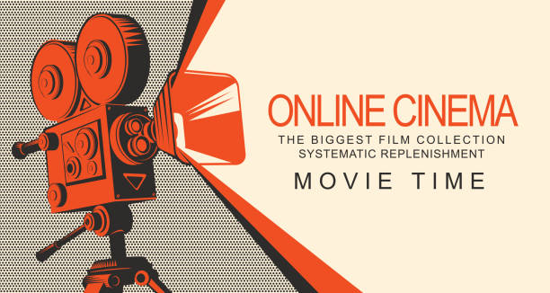 ilustrações de stock, clip art, desenhos animados e ícones de banner for online cinema with old movie projector - film