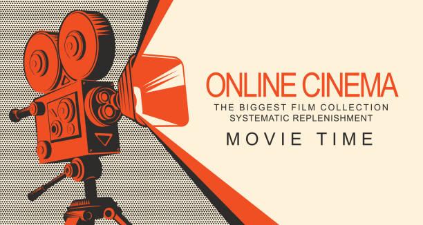 illustrazioni stock, clip art, cartoni animati e icone di tendenza di banner for online cinema with old movie projector - cinema