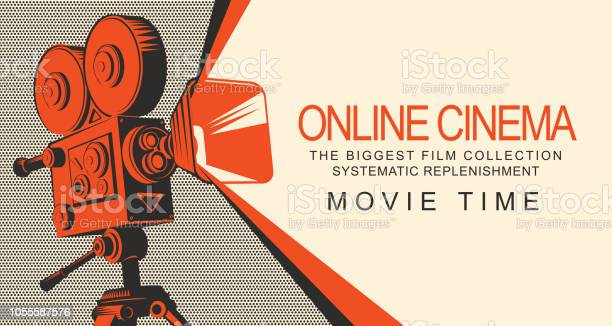 Banner Per Il Cinema Online Con Vecchio Proiettore Cinematografico - Immagini vettoriali stock e altre immagini di Applicazione mobile