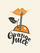 Orange juice banner or label with cartoon girly lips, orange fruit, drinking straw and handwritten lettering. Decorative vector illustration in flat style for fresh orange juice