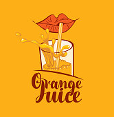 Vector banner or label for orange juice in retro style. Decorative illustration with calligraphic inscription, red lips, glass, straw and juice splashes on an orange background