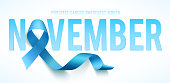 Banner for Prostate cancer awareness month in nowember. Word november with realistic blue ribbon. Design template for poster. Vector illustration.