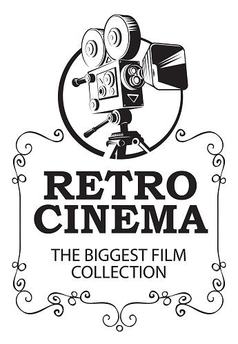 banner for retro cinema with vintage movie camera