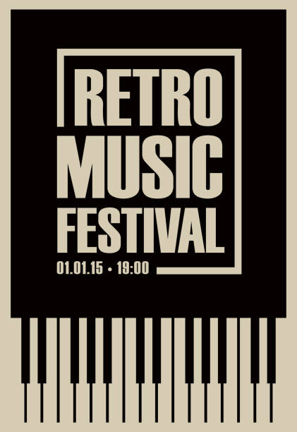 banner for retro music festival with piano keys - pianino instrument klawiszowy stock illustrations
