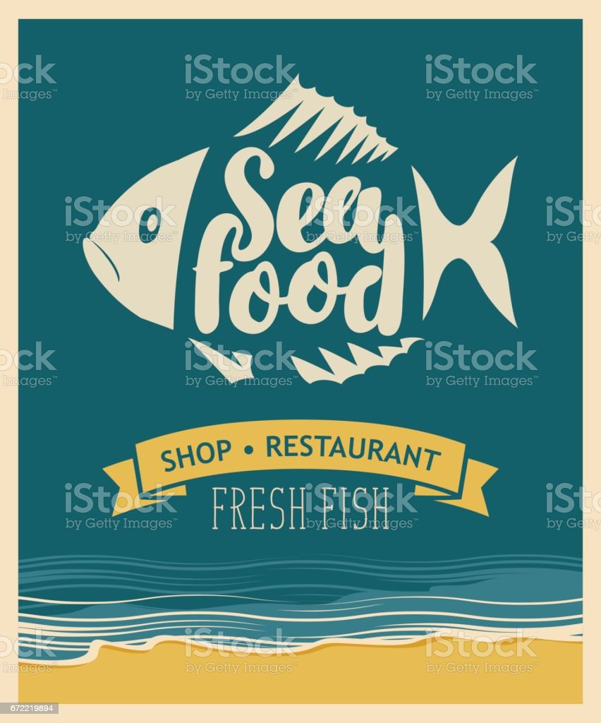 banner for seafood restaurant or shop with fish vector art illustration