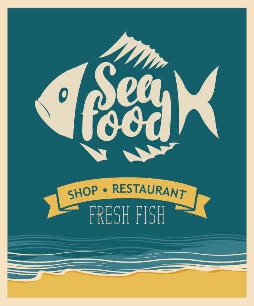 banner for seafood restaurant or shop with fish - ilustración de arte vectorial