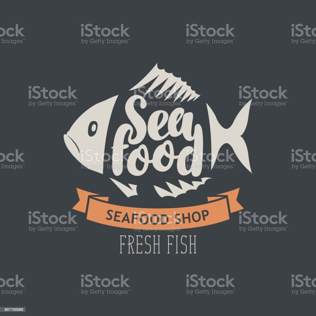 banner for seafood shop with decorative fish vector art illustration
