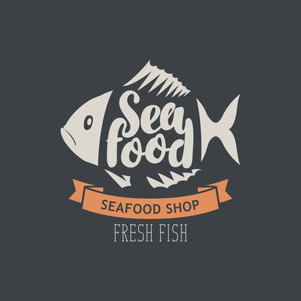 banner for seafood shop with decorative fish - animal bone stock illustrations