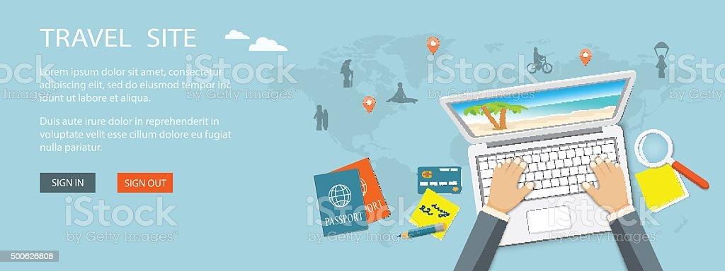 banner for travel site vector art illustration