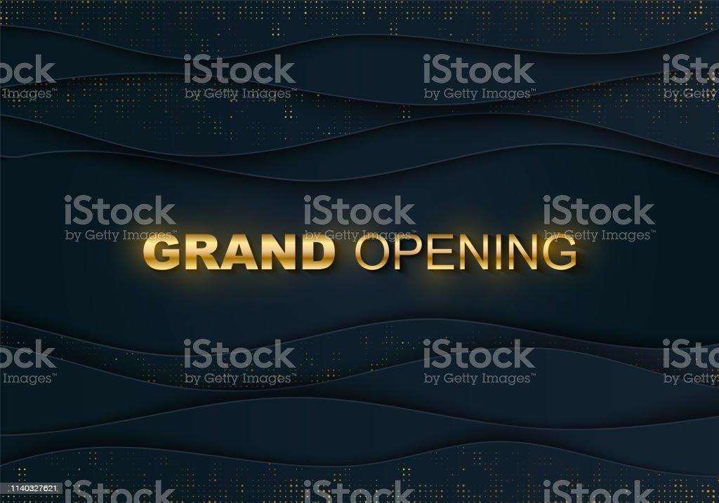 OPENING sparkling banner. Gold halftone, lettering. Business startup...