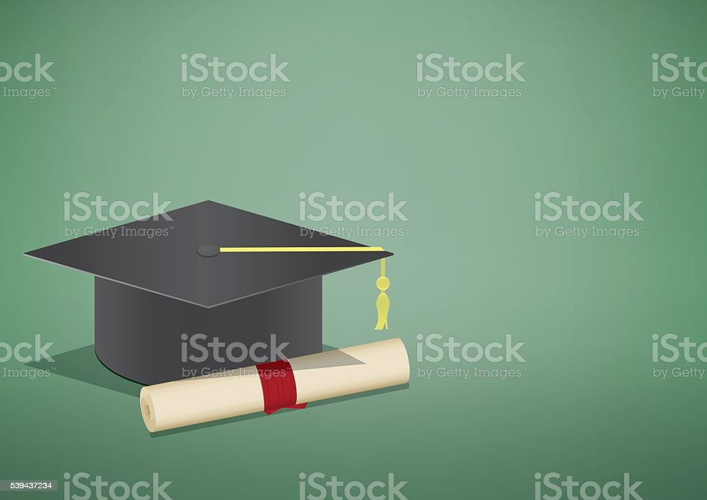 banner graduation cap and diploma a symbol of graduation vector