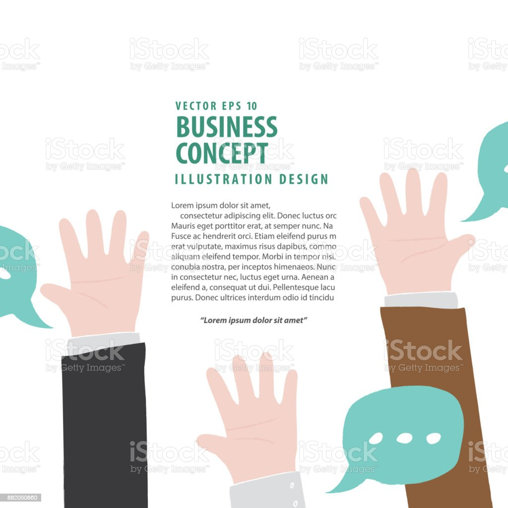 Banner Hands up of businessman meaning vote or asking or answering or agreement on white background illustration vector. Business concept. vector art illustration