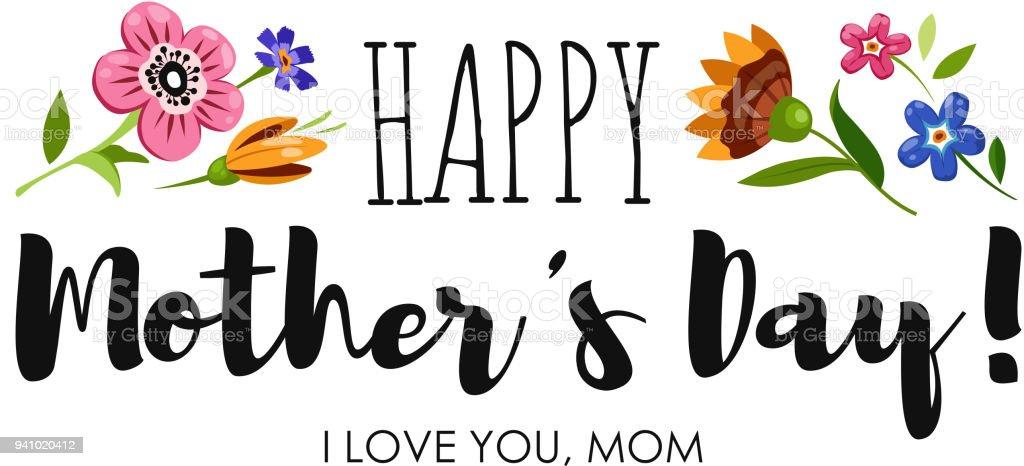 Mutlu Anneler Günü Kır çiçekleri Ve Zarif Yazı Ile Banner Mutlu