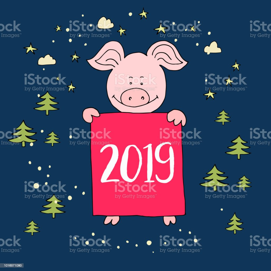 Banner Happy New Year Greeting Card Cute Pig Cartoon Vector Is Stock