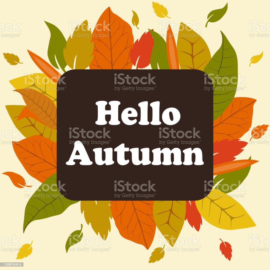 Bannerhallo Herbst Herbst Blatter Sind Gelb Und Rot Stock Vektor Art