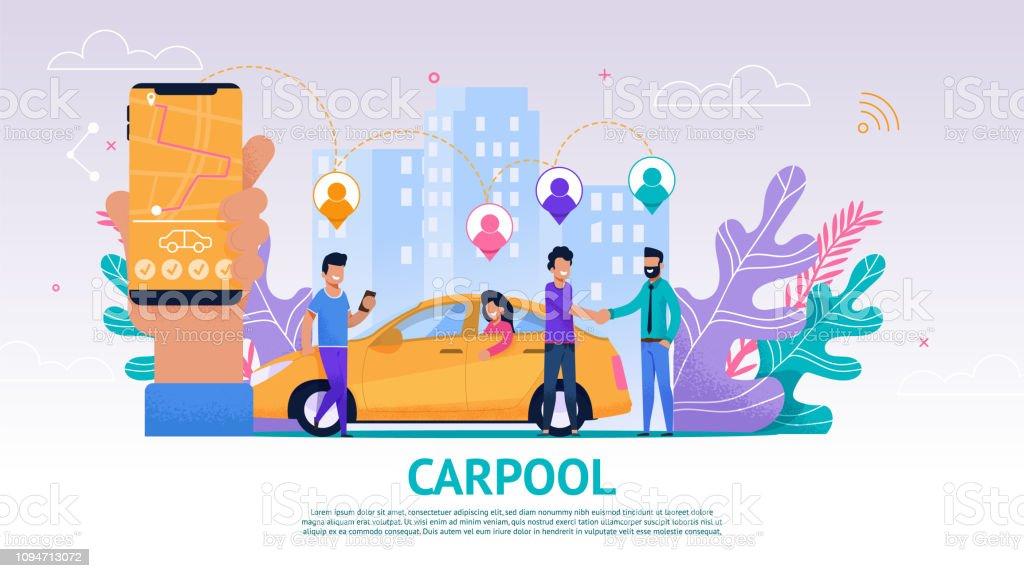 Banner ilustração grupo pessoas viajam companheiro - ilustração de arte em vetor