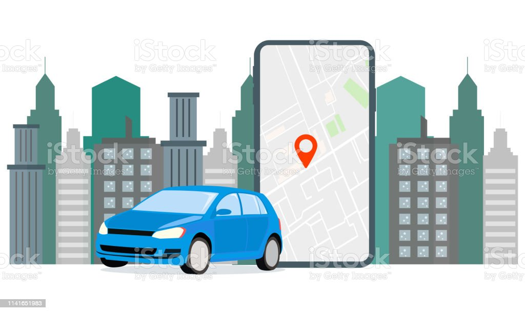 Banner Illustration Navigation Car Rental The Screen Displays Gps Data Car Parking Use Car Hire For Mobile Services Stock Illustration Download Image Now Istock
