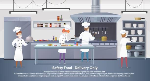 ilustrações de stock, clip art, desenhos animados e ícones de banner illustration safety food - delivery only - covid restaurant