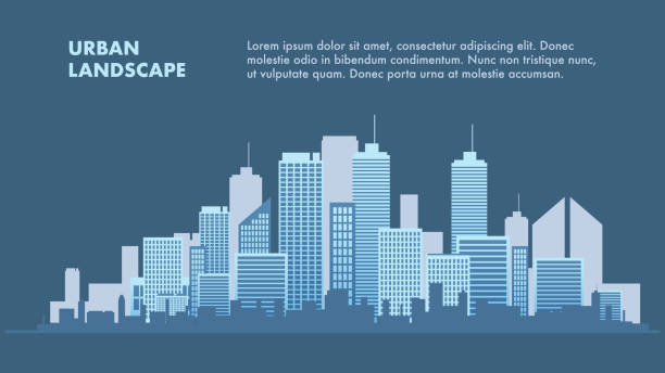 stockillustraties, clipart, cartoons en iconen met banner afbeelding stadslandschap metropolis - wolkenkrabber