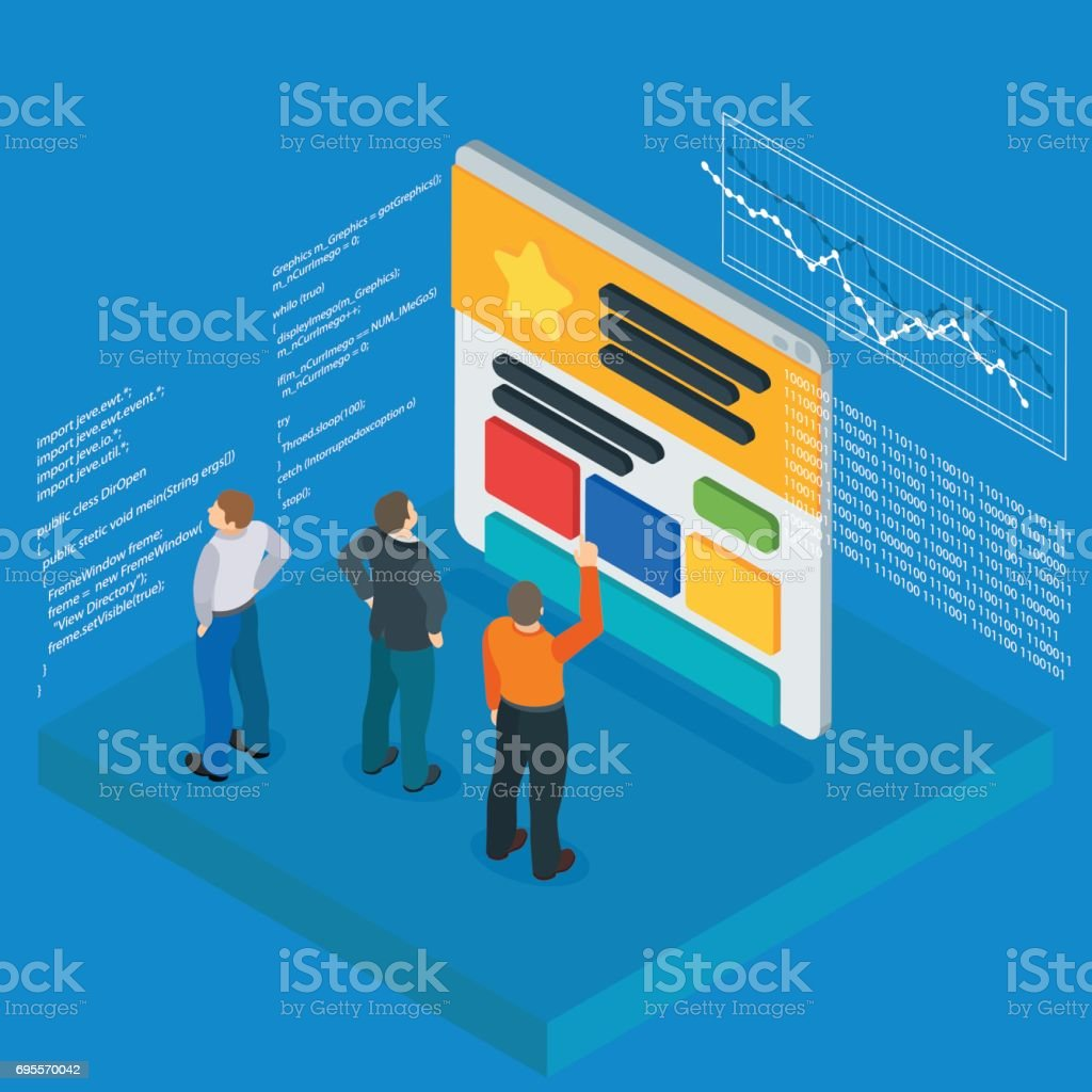 Banner in a flat 3d isometric style. Optimization of websites. People and the website page. Infographics and program code. People Web site development. vector art illustration