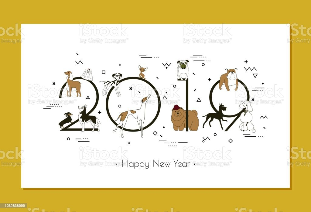 banner in breeds of dogs 2019 happy new year calendar stock vector art more images of animal. Black Bedroom Furniture Sets. Home Design Ideas