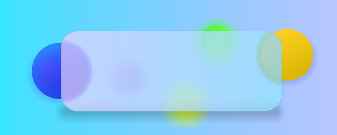 Banner in the Glassmorphism style. Transparent round glass, and behind it blurred circles.