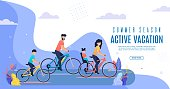 Banner Inscription Active Vacation Summer Season. Active Image Parents and Children. Mapa Lucky Daughter on Trunk Bike, Dad Son Riding along Park against Backdrop Clouds. Vector Illustration.