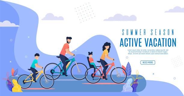 Banner-Inschrift Aktive Ferien Sommersaison. – Vektorgrafik