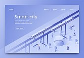Banner is Written Smart City Isometric Lettering. Subway Ground Train is Built on High Piers. People go Downstairs. Innovative Developments Optimize use Resources and Reduce Cost Consumption.
