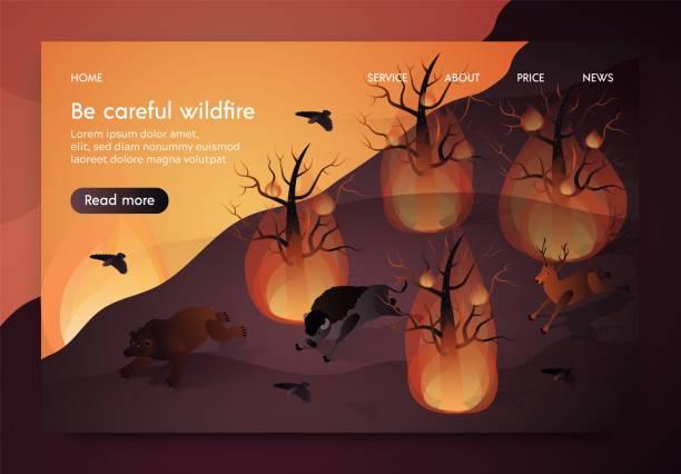 bildbanksillustrationer, clip art samt tecknat material och ikoner med banner iso metrisk är skriven var försiktig wildfire. - skog brand