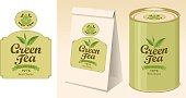 Vector banner and label for green tea with the image of tea leaves on the twig and inscription. Paper 3D package and a tin can of tea with this label