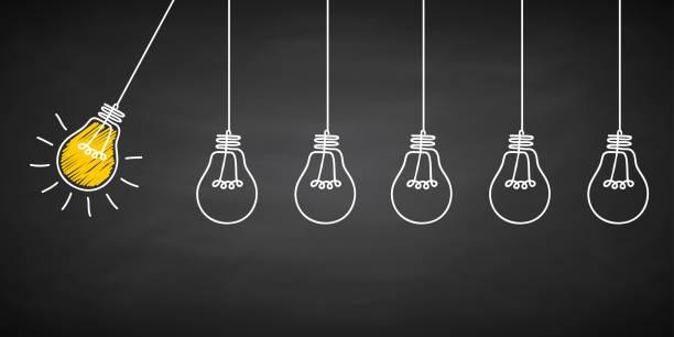 banner glühbirne idee konzept, kreative seukchen lampe zeichen in kreide auf einer tafel gezeichnet, innovationen hintergrund - für lager - elegante kleidung stock-grafiken, -clipart, -cartoons und -symbole