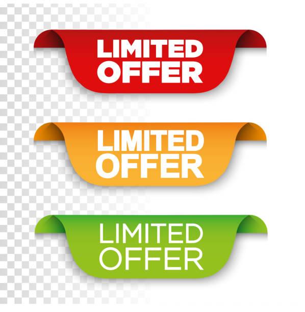 illustrazioni stock, clip art, cartoni animati e icone di tendenza di banner limited offer. vector ribbon banner - proibizione