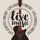 banner live music with acoustic guitar