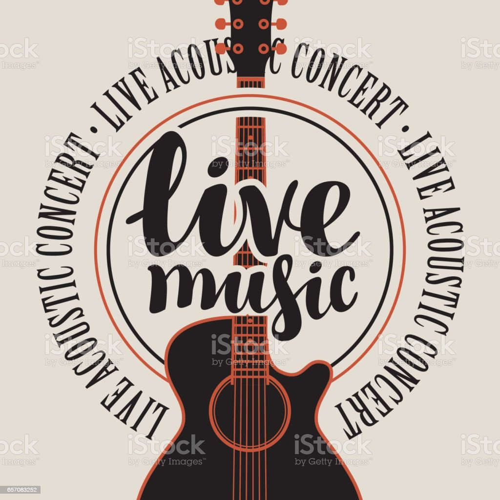 banner live music with acoustic guitar vector art illustration