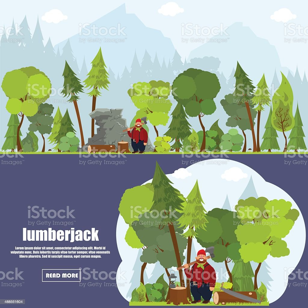 banner lumberjack vector art illustration