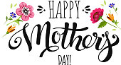 Banner Mothers Day with flowers and lettering