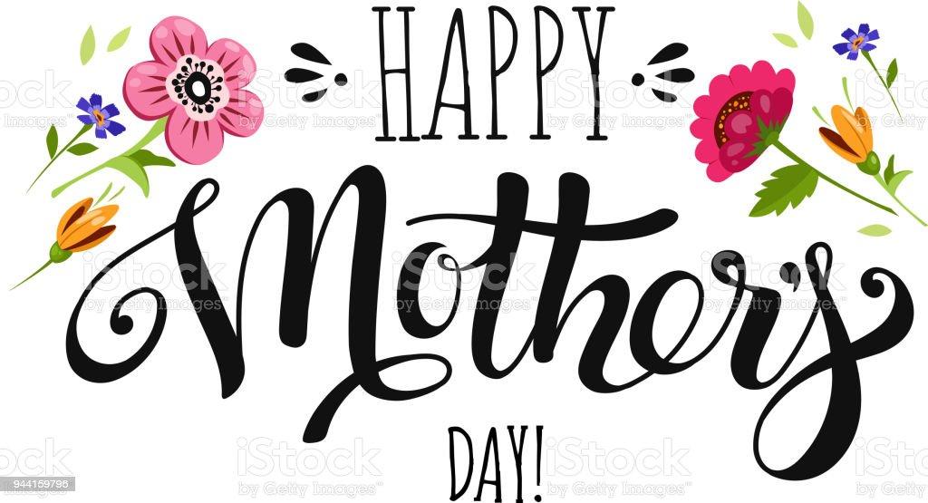 Día de las madres de banner con flores y Letras - ilustración de arte vectorial