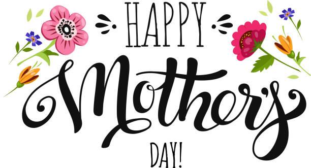 ilustraciones, imágenes clip art, dibujos animados e iconos de stock de día de las madres de banner con flores y letras - día de la madre