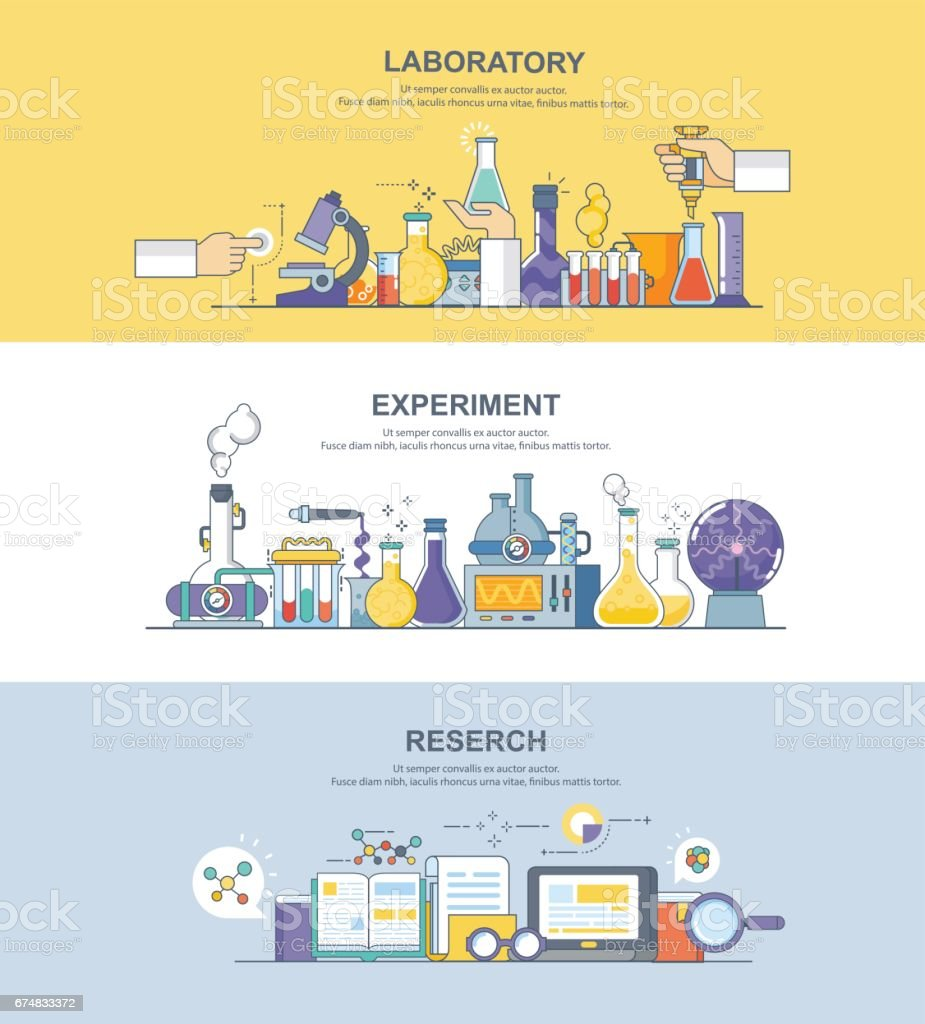 banner of laboratory vector art illustration