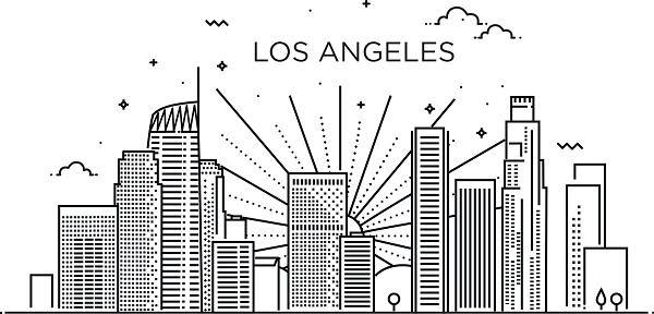 Banner of Los Angeles city in flat line trendy style. Los Angeles city line art.