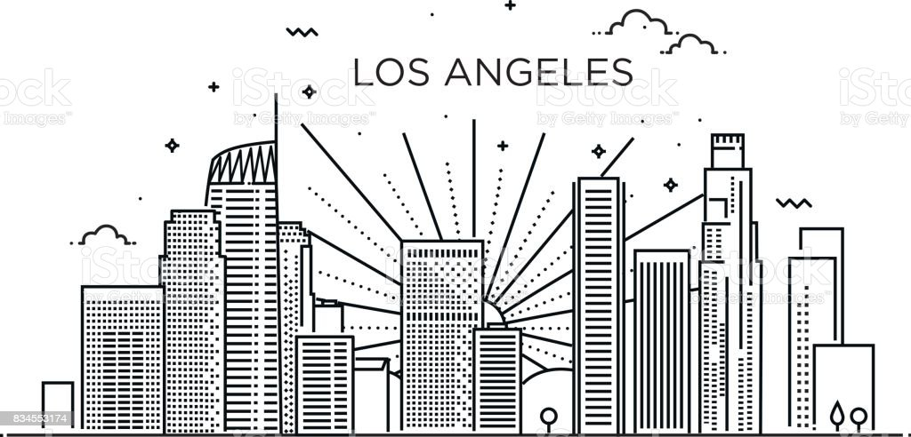 Banner of Los Angeles city in flat line trendy style. Los Angeles city line art. vector art illustration