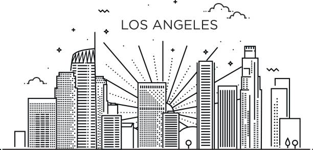 banner of los angeles city in flat line trendy style. los angeles city line art. - los angeles stock illustrations