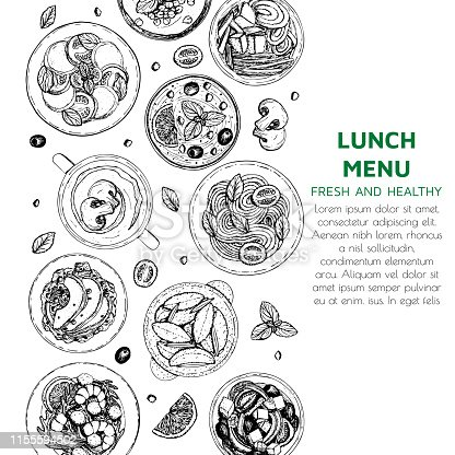 Banner of lunch and dinner ingredients top view. Food elements collection. Hand drawn vector illustration for fllyer, menu