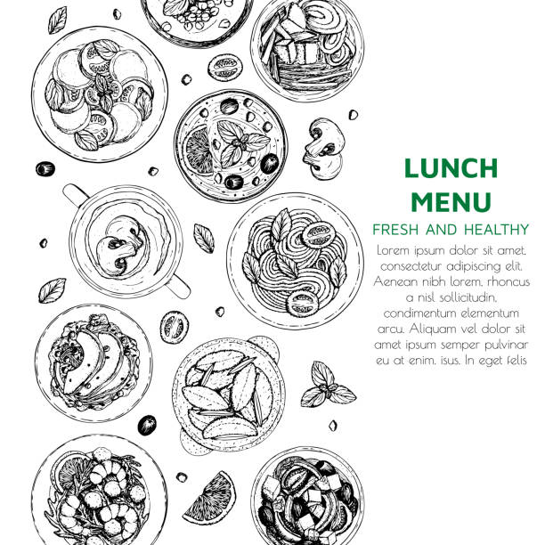 Banner of lunch and dinner ingredients top view Banner of lunch and dinner ingredients top view. Food elements collection. Hand drawn vector illustration for fllyer, menu seafood stock illustrations