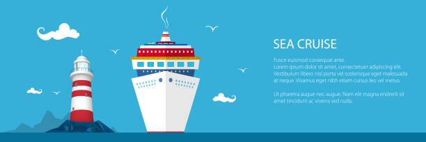 illustrations, cliparts, dessins animés et icônes de bannière du tourisme maritime - croisière