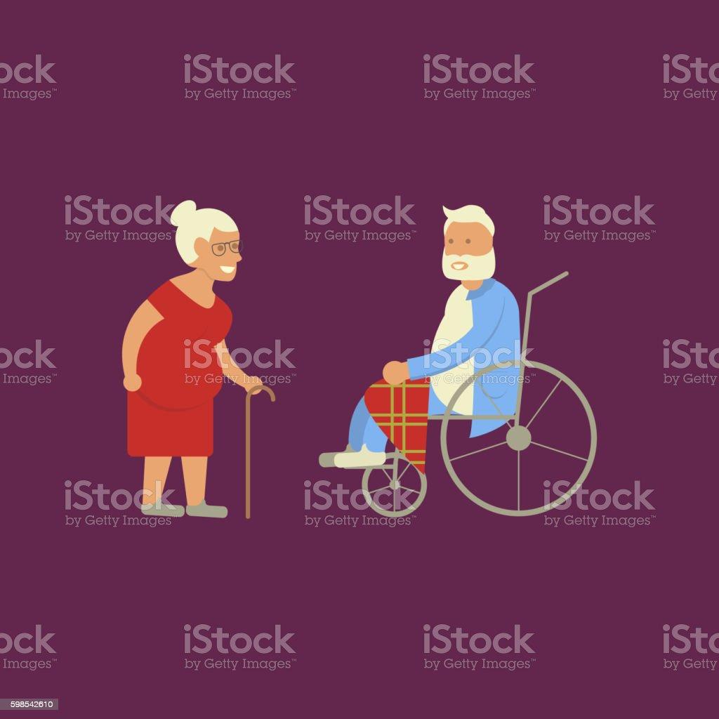Banner of Retired elderly banner of retired elderly – cliparts vectoriels et plus d'images de adulte libre de droits