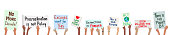 Banner of school children holding climate change protest signs in hands - vector grouped easy to edit